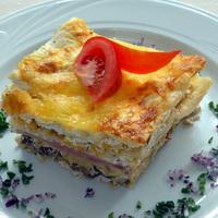 Sonkás-gombás torta