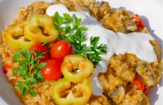 Vegetáriánus bácskai rizses gomba