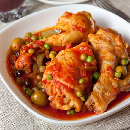 Zöldséges olajbogyós csirke