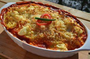 Krémsajtos, csirkemelles rakott spagetti